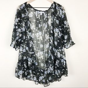 AEO Floral Black Light Weight Cardigan Open Front